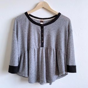 Free People grey thermal waffle knit swing top